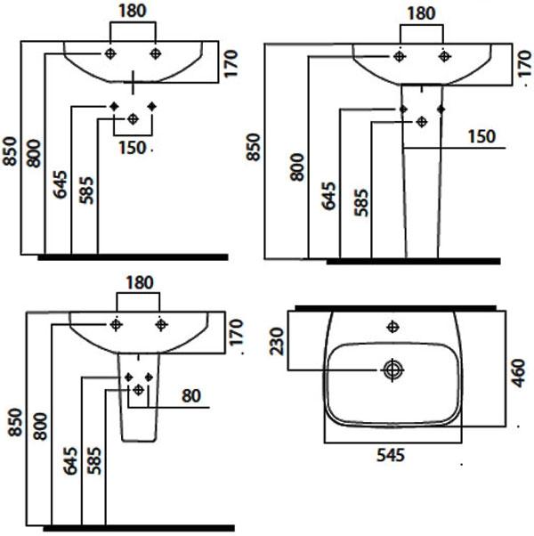 Схема AM-PM Inspire C504221WH раковина 55 см