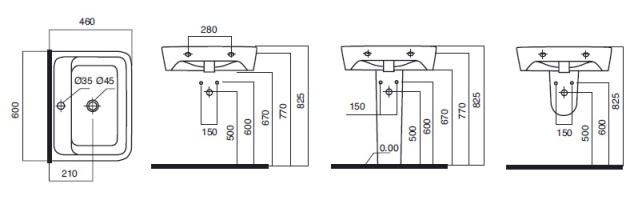 Схема AM PM Spirit C704321WH Умывальник 60х46 см