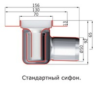 Схема ACO трап для душа с вертикальным фланцем ShowerDrain C-line 408758, стандартный сифон, 785 мм