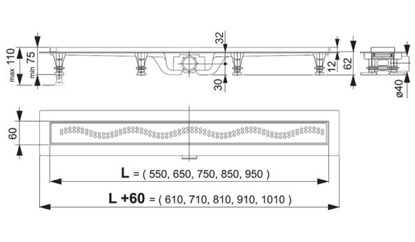 Схема Alcaplast APZ8-550 Душевой лоток с решеткой 550 мм