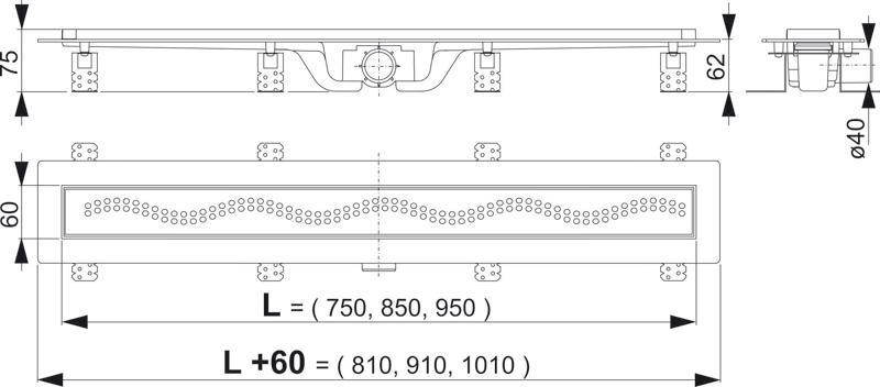 Схема Alcaplast APZ8-750 Душевой лоток с решеткой 750 мм