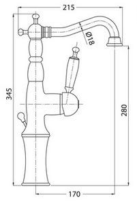 Схема Bugnatese Oxford 6317CR Смеситель для раковины высокий