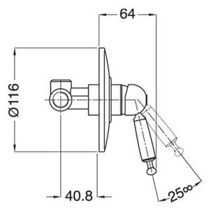 Схема Bugnatese Oxford 6330CR Смеситель для душа скрытого монтажа