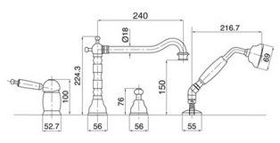 Схема Bugnatese Oxford 6355CR Врезной смеситель для ванны на 4 отверстия