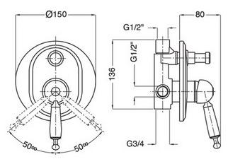 Схема Bugnatese Oxford 6372CR Смеситель для ванны и душа скрытого монтажа