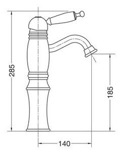 Схема Bugnatese Oxford 6327CR Смеситель для раковины высокий