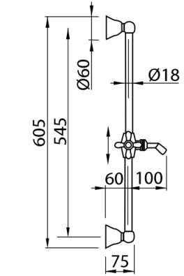 Схема Bugnatese 19257 Душевой гарнитур с ручным душем, штанга 60 см, хром