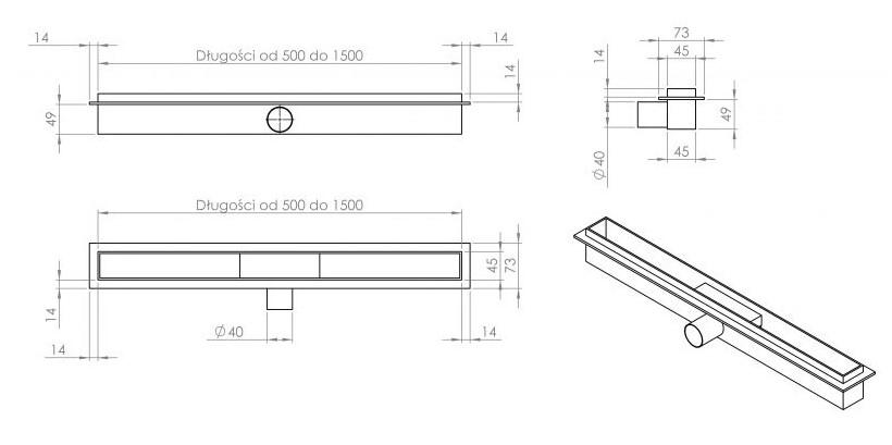 Схема Cedor Super Slim Sea душевой канал с решеткой 70 см