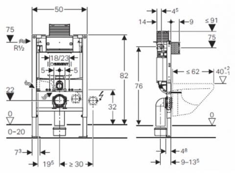 Схема Geberit 111.003.00.1 Omega Инсталяция для подвесного унитаза 82 см