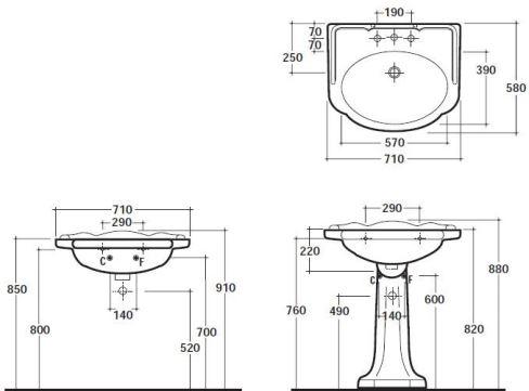 Схема Globo Paestum PA006.BI Умывальник 71 см