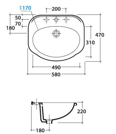 Схема Globo Paestum PA016.BI Раковина врезная 58 см.