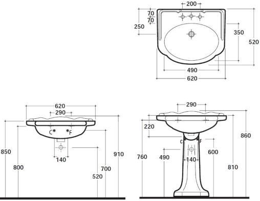Схема Globo Paestum PA057.BI Умывальник 62 см