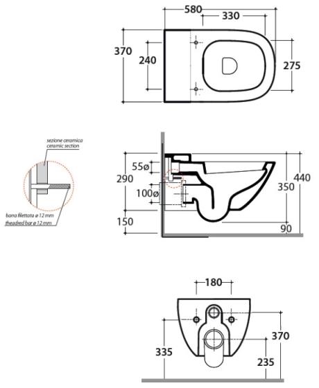Схема Globo Stockholm LAS02.BI Унитаз подвесной