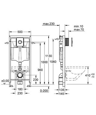 Схема Grohe Rapid SL 38813001 инсталляция 4 в 1 в сборе, для подвесного унитаза