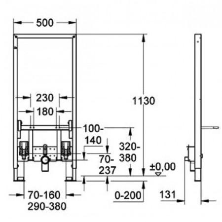 Схема Grohe Rapid SL 38553001 инсталляция для биде
