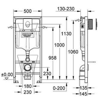 Схема Инсталляция Grohe 38721001 4 в 1 + Villeroy & Boch O.Novo 5660H101 Унитаз подвесной с крышкой soft close