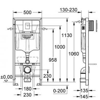 Схема Инсталляция Grohe 38772001, 4 в 1 + Унитаз Villeroy & Boch Design Omnia architectura 5684H101 с крышкой плавного опускания