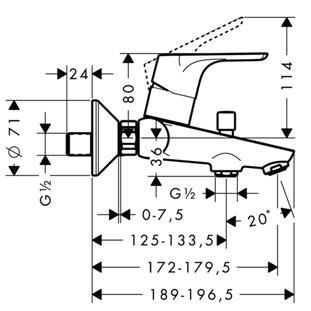 Схема Hansgrohe Focus Набор смесителей для ванны 3в1 31607000+31940000+27772000