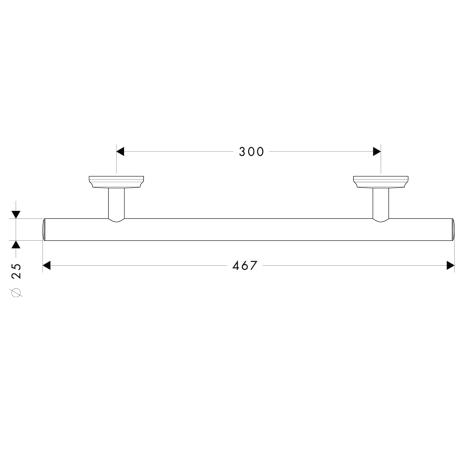 Схема Аксессуары для ванной Hansgrohe Logis Classic 41613000 Поручень 300 мм