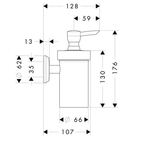 Схема Hansgrohe Logis Classic 41614000 Диспенсер жидкого мыла, керамика