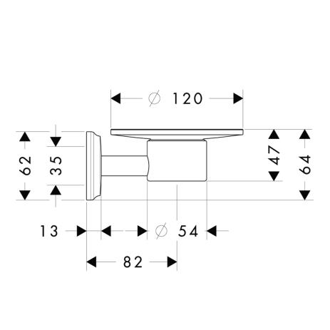 Схема Аксессуары для ванной Hansgrohe Logis Classic 41615000 мыльница, керамика