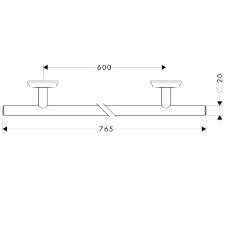 Схема Аксессуары для ванной Hansgrohe Logis Classic 41616000 Полотенцедержатель 765 мм