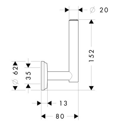 Схема Аксессуары для ванной Hansgrohe Logis Classic 41617000 держатель запасного рулона туалетной бумаги