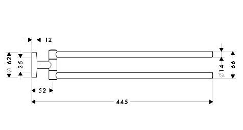 Схема Hansgrohe Logis 40512000 Держатель полотенца поворотный