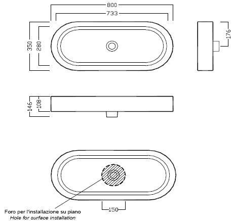 Схема Hatria Area Y0UF01 Умывальник накладной 80x35 см