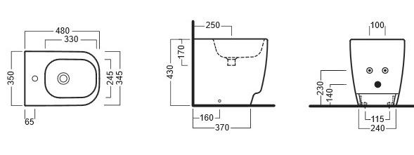 Схема Hatria Fusion 48 YXC901 Биде напольное 350x480 мм + крепление
