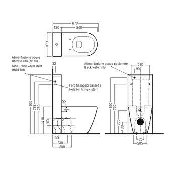 Схема Hatria Fusion YXVD01 Унитаз напольный 355x540 мм + бачок Y0MK01 + крышка плавного опускания Y1X001 (YXVX)