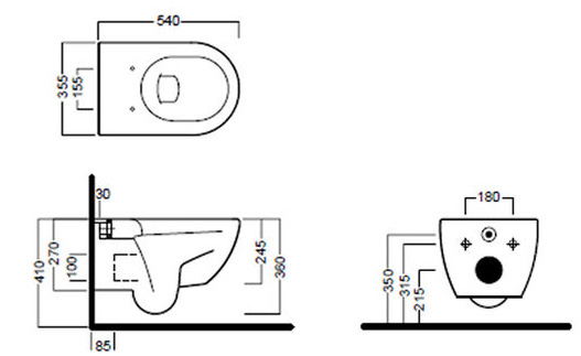 Схема Hatria Fusion YXGQ01 Унитаз подвесной 355x540 мм + крышка плавного опускания Y1X001 (YXVX) + крепление