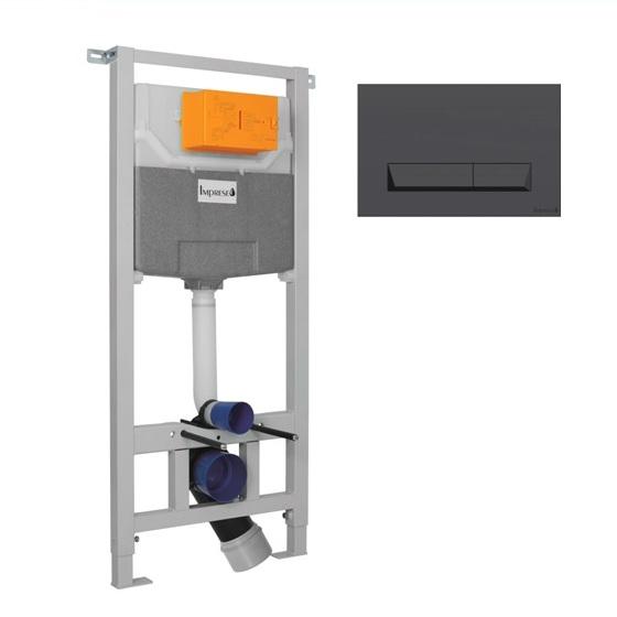 Imprese i5220+i8040B Инсталяция для подвесного унитаза 3 в 1 с черной матовой клавишей и креплением. Производитель: Чехия, Imprese