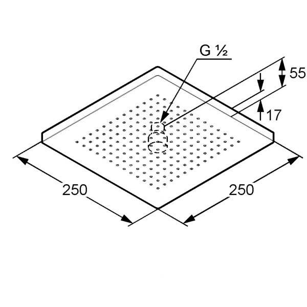 Схема Kludi A-QA 665310500 Верхний душ 250x250 мм