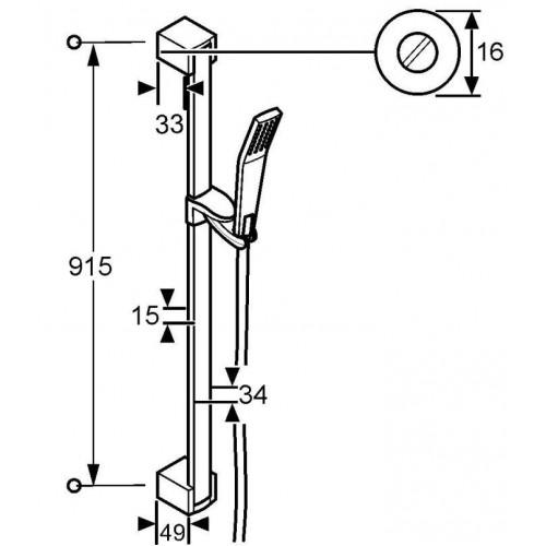 Схема KLUDI JOOP 551300500 Душевой гарнитур 900 мм