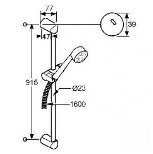 Схема Kludi Zenta 608400500 Душевой гарнитур 3S, штанга 900 мм, три типа струи