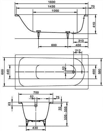 Схема Ванна Kaldewei Saniform Plus 160х75 см. 112500010001 мод. 372-1