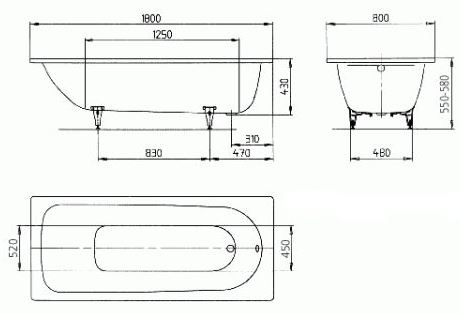 Схема Ванна Kaldewei Saniform Plus 180х80 см 112800010001 мод. 375-1