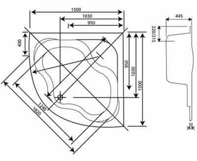 Схема Koller Pool Atlanta 150 см Панель фронтальная к ванне