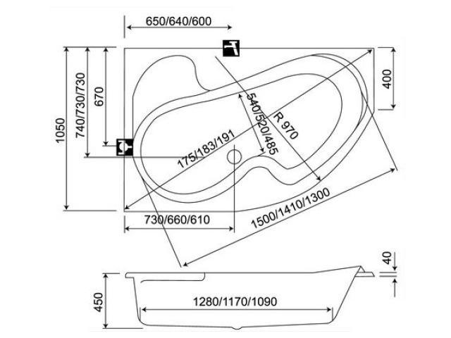Схема Ванна Koller Pool Montana 150 x 105 см L/R