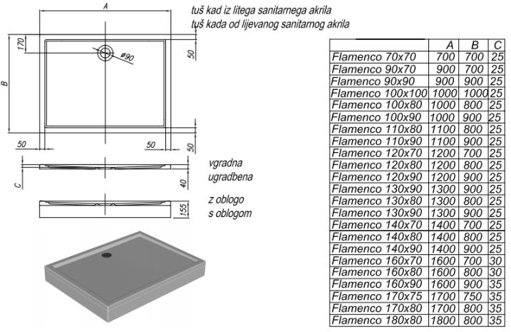 Схема Kolpa San Flamenco 120 акриловый поддон для душа 120х80 см