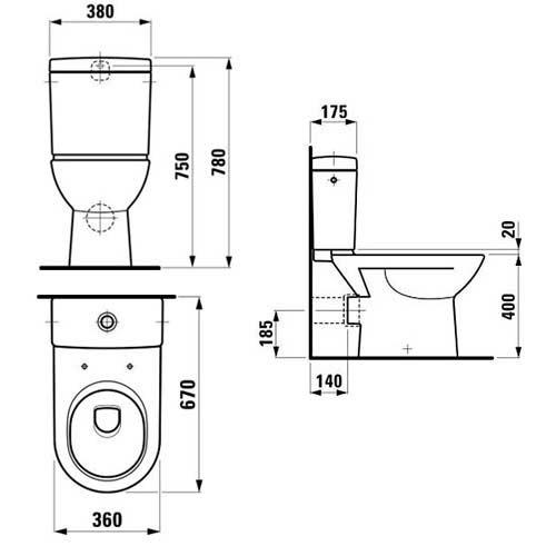 Схема Laufen Pro 61950 (24956+26952+91951) Унитаз напольный с бачком и крышкой с плавным опусканием