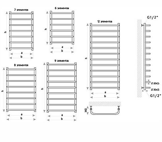 Схема Марио Стандарт Полотенцесушитель