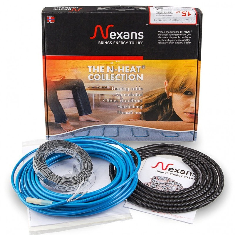 Nexans Millicable Flex 15 375 Вт Тонкий двужильный нагревательный кабель под плитку 2,5 м2. Производитель: Норвегия, Nexans