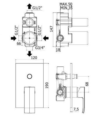 Схема Paffoni KITELLE015/MNO Душевая система скрытого монтажа черная матовая