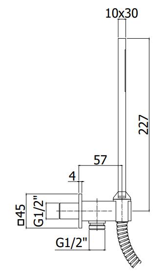 Схема Paffoni ZDUP095NO Душевой набор с подключением шланга и держателем черный матовый