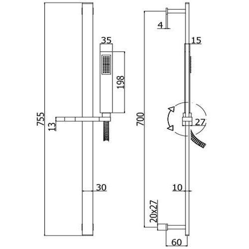 Схема Paffoni ZSAL145NO Душевой набор на стойке черный матовый