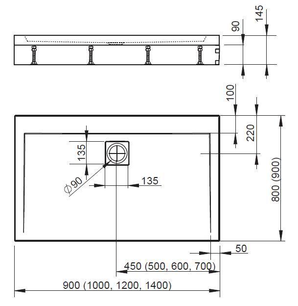 Схема Radaway Argos D 4ADN914-02 Душевой поддон на ножках 140x90 см