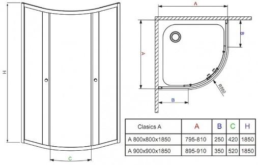 Схема Radaway Classic 30000-01-01 + Tinos полукруглая душевая кабина 90х90 см с поддоном и сифоном