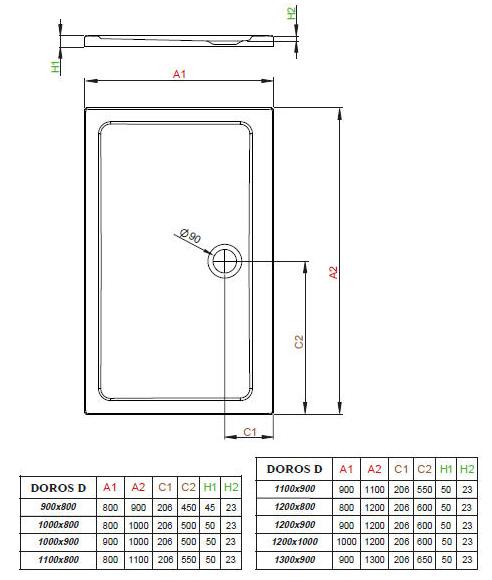 Схема Radaway Doros D SDRD1280-01 Поддон для душа 120х80 см